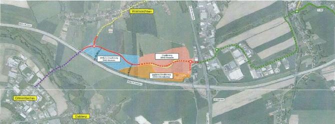 Die geplante Ausbautrasse für die S 288